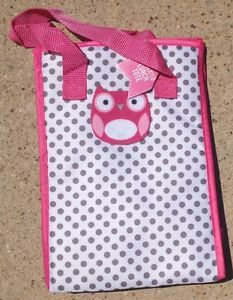 "New Girl's Owl Appliqué Insulated Lunch Tote Hot Pink With Grey Dots 10"" X 7""  