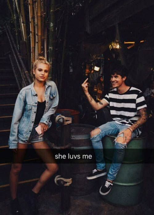 Model Meredith Mickelson and YouTuber Kian Lawley in a picture shared on his Snapchat in 2016