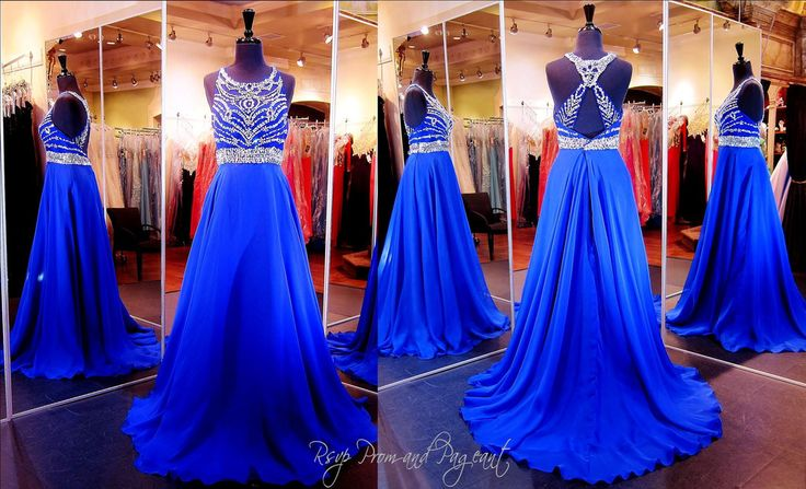 Royal Blue Prom Dress-High Beaded Neck-Open Back-Only at Rsvp Prom and Pageant, Atlanta, GA... This gorgeous gown features a sheer mesh bodice and jewel neckline. It has a low back embellished with clear stones and sequins. The full A-line skirt is made from flowing chiffon layers that beautifully fall to the floor. Buy it HERE at http://rsvppromandpageant.net/collections/long-gowns/products/royal-blue-prom-dress-high-beaded-neck-open-back-115bp0100010