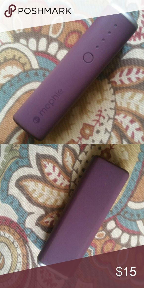 Purple Mophie Power Reserve 1x (2600 mah) Purple Mophie Power Reserve 1x (2600) portable charger. Works like a charm. Preowned, no flaws but no usb charger included, sorry!  Compatible with most USB-chargeable devices for reliable recharging. 2600 mAh capacity Plus a 1.8-amp output delivers steady power to your device. Smart adaptive charging technology identifies your connected device to deliver fast, efficient charging. Bundle to save more! Mophie Other