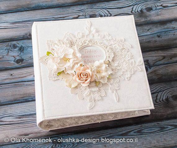 """Shabby chic wedding scrapbook album 6x6 inch """"Today, Tomorrow, Always"""""""