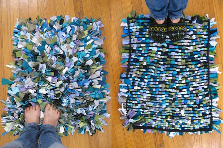Diy making a free rug with your old clothes http - Tapetes de lana ...
