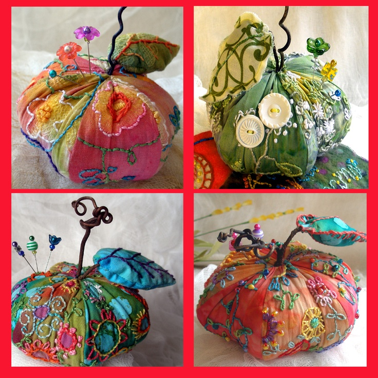 I ❤ pincushions . . . Take a look at these apple pincushions. Tell me they would be the same without embroidery . . . ~By Fiberluscious