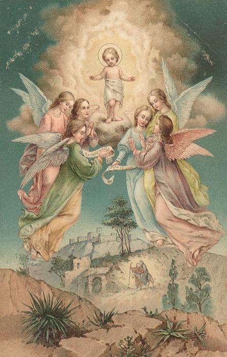 Jesus e os Anjos que o adoram.