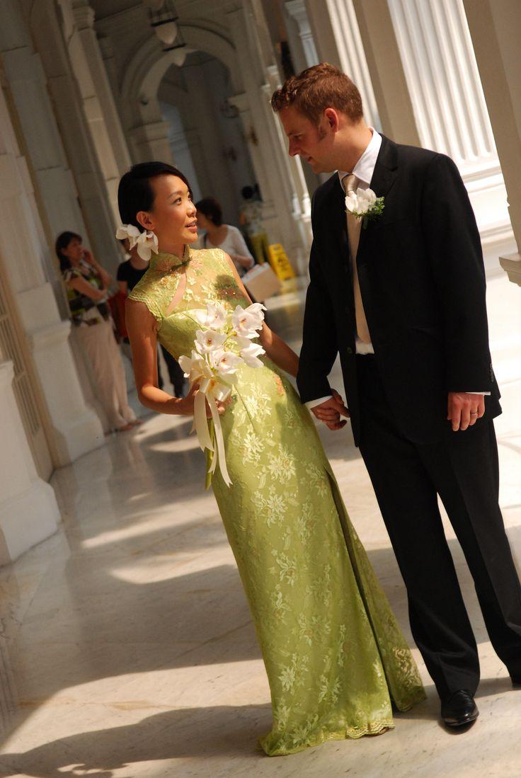 Ok wedding gallery the beauty dress of cheongsam 2013 - Green Lace Cheongsam Like The Cut