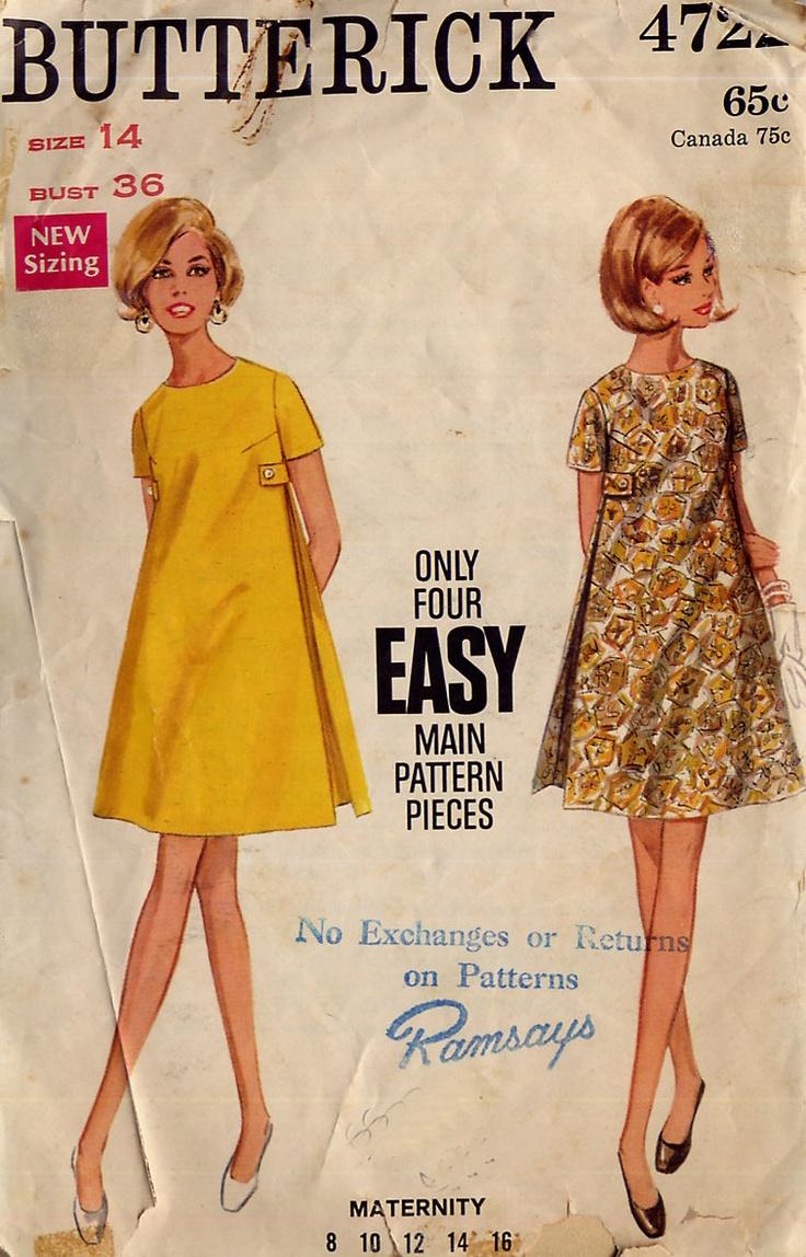 Vintage 60s Mod A-Line Dress Pattern - Butterick 4722 - Maternity Dress - Inverted Side Pleats -