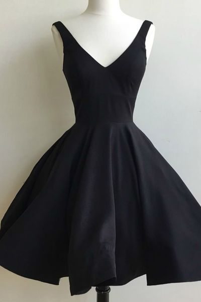 Cute black satin prom dress,homecoming dress, short dress for prom 2017