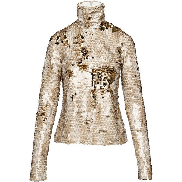 Anouki Sparkly Turtleneck Top (2,035 MYR) ❤ liked on Polyvore featuring tops, gold, sparkle turtleneck, gold sequin top, turtleneck top, sequin embellished top and long sleeve sequin top