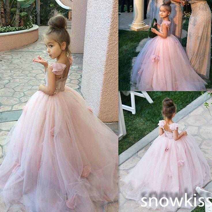2016 Pink Blush flower girl dress Spaghetti straps  junior bridesmaid ball gown kid birthday prom party pageant dress-in Flower Girl Dresses from Weddings & Events on Aliexpress.com | Alibaba Group