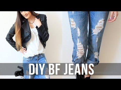 Great video on how to distress you own jeans, I never would have know to do it like this! ▶ DIY: Distressed Boyfriend Jeans | LaurDIY - YouTube