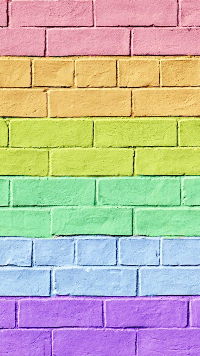 Cut colorful brick wallpaper.