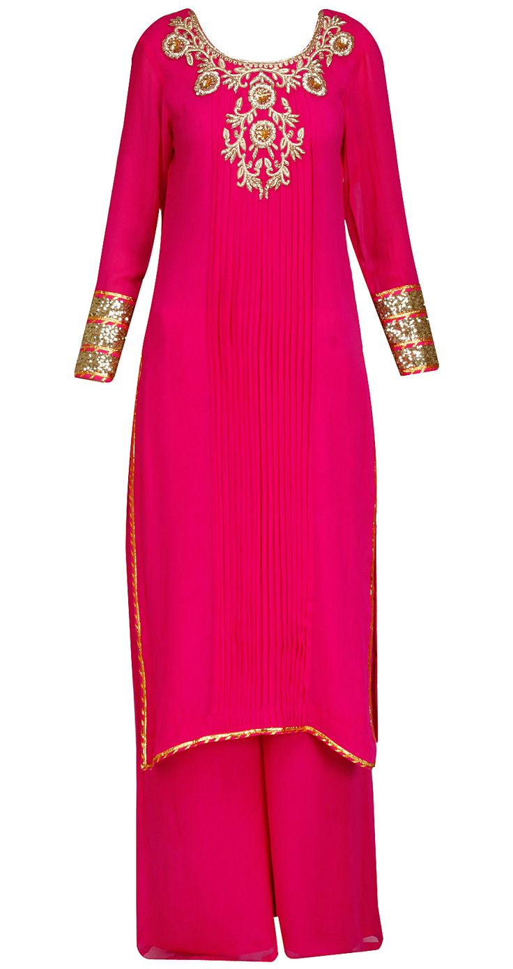 Fuschia straight kurta set with purple leheriya dupatta by SONAL KALRA AHUJA. Shop at https://www.perniaspopupshop.com/whats-new/sonal-kalra-ahuja-1