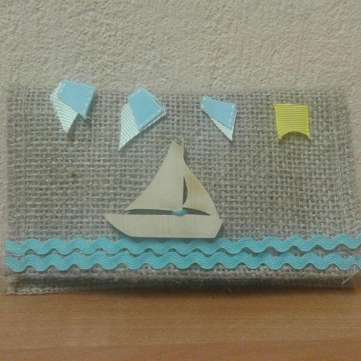 Φάκελος λινάτσα με ξύλινο καραβάκι ουρανό και θάλασσα!