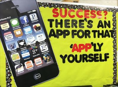 Unite technology and learning in the classroom with this bulletin board! (Easy tutorial for making the gigantic iPhone/iPad is attached)