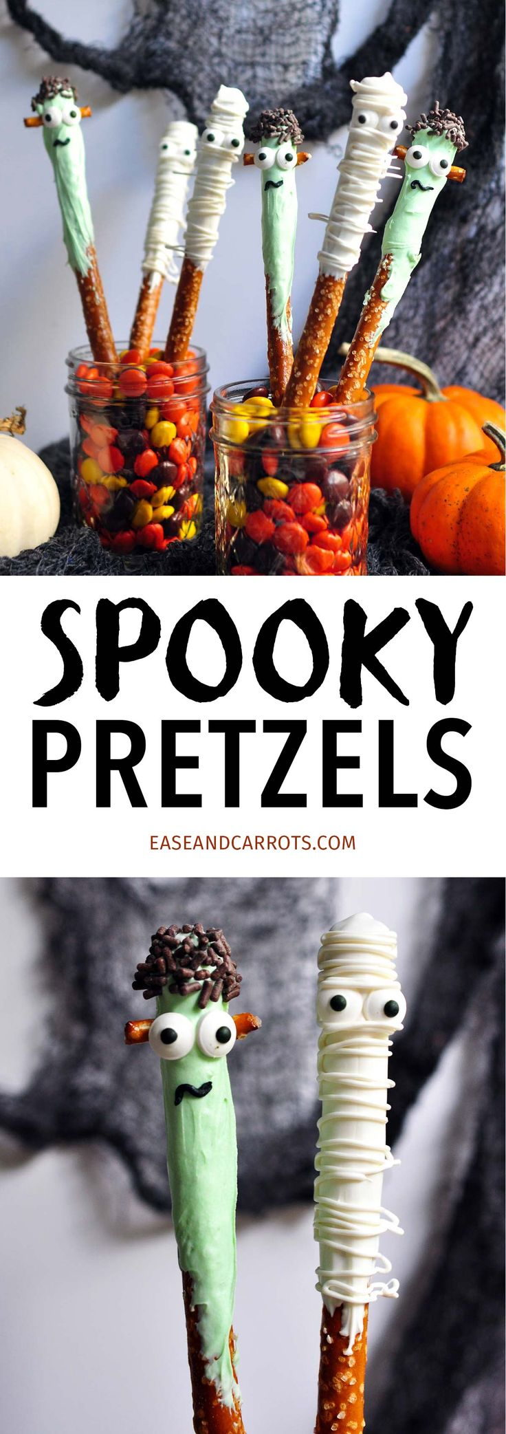 Spooky Pretzels Recipe. Freakishly adorable pretzel rods decorated as Frankenstein and mummies for your upcoming Halloween festivities!