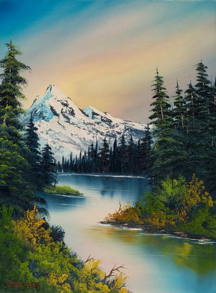bob ross peaceful reflections painting- ignore me pinning all this Bob Ross related stuff