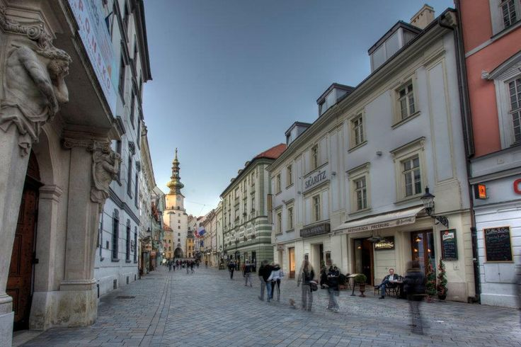 Bratislava's Old Town with an overview of the St. Michael's Gate, a former part of the city's fortification - Slovakia
