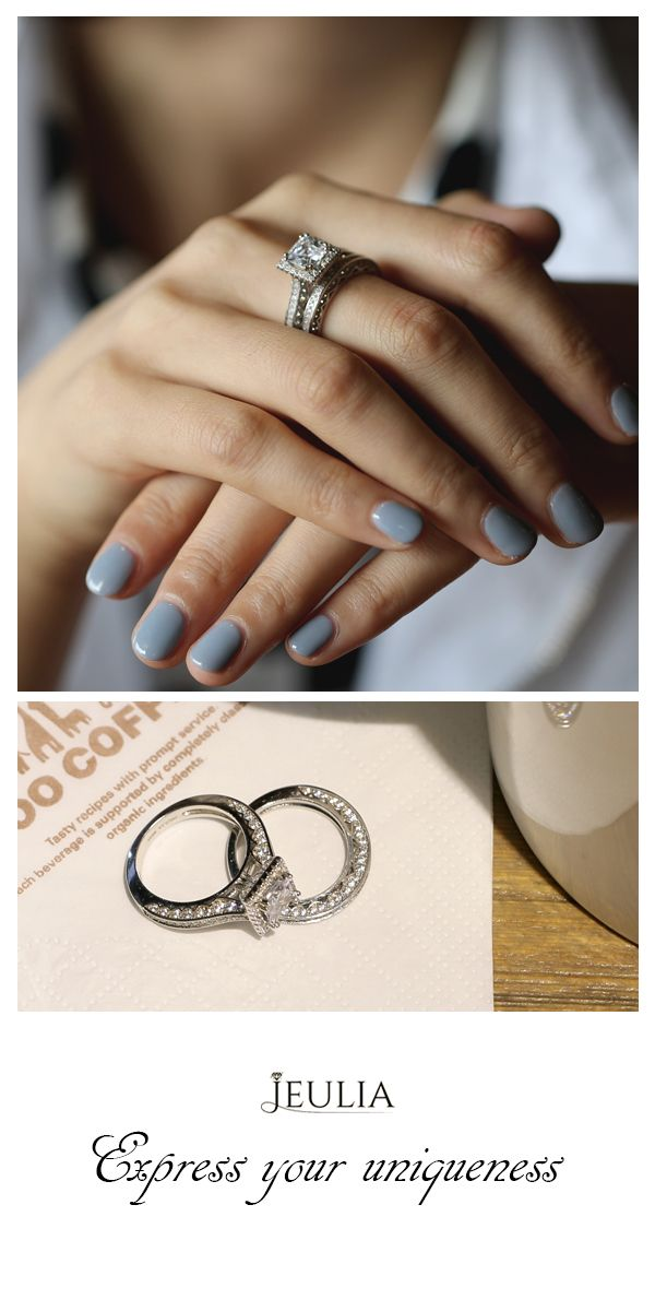 Halo Princess Cut Created White Sapphire Wedding Set Jeulia