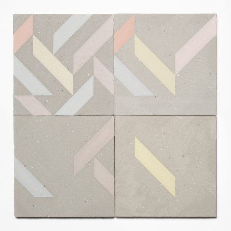concrete tiles with graphic pastel quality.