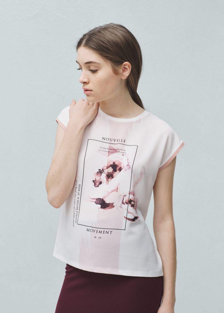 T-shirt mit kontrastaufdruck -  Damen   MANGO