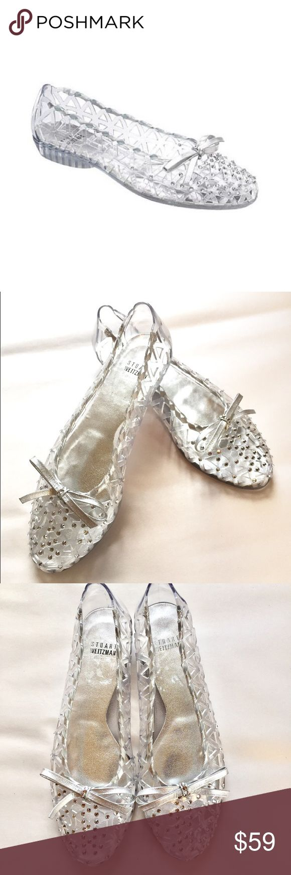 Stuart Weitzman jellystone silver ballet flats Stuart Weitzaman Swarovski crystal accented ballet flats. Gently used- in near-perfect condition! Size 7. Stuart Weitzman Shoes Flats & Loafers