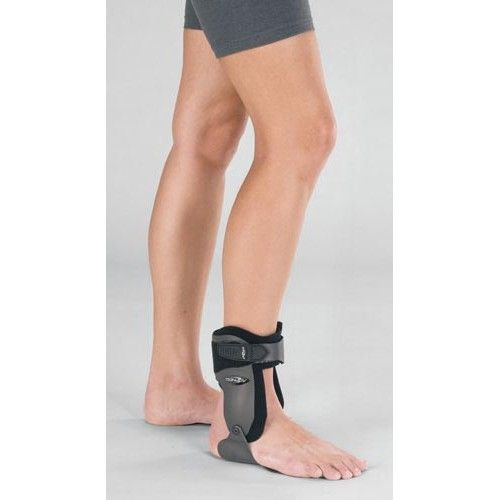 Velocity Ankle Brace Medium Right Wide M8-12 W9.5-13 -   RIGHT. SIZE MEDIUM.  MEN 8-12. WOMEN 9.5-13.5. Provides moderate support for ankle injury prevention and treatment. Recommended to help prevent high ankle sprains abnormal inversion/eversion and protection of ankles during impact sports. Anatomical contour for proper fit. Sturdy rigid uprights with circumferential strapping to help prevent and treat high ankle sprains and inversion/eversion injuries.