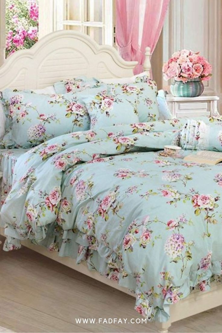 Farmhouse Bedding Shabby Blue Floral Vintage Floral Print Duvet