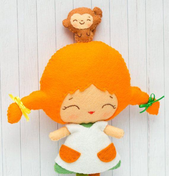 PDF pattern. Pippi and her monkey. Doll pattern.