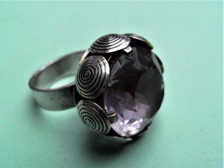 Silver modernist spiral cup pale purple stone ring Kupittaan Kulta Finland 70s