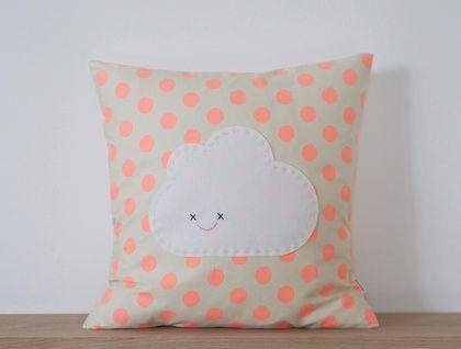 Peach Polka Dot Cloud Cushion http://felt.co.nz/listing/162765/LIMITED-EDITION---Peach-Polka-Dot-Cloud-Cushion