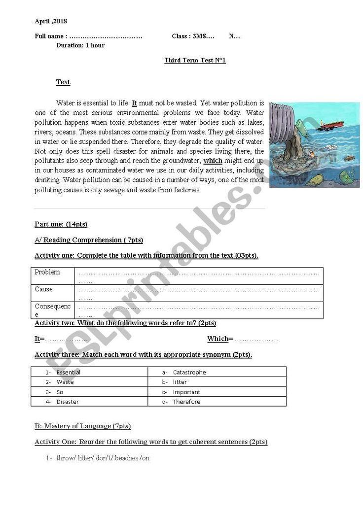 Water Pollution Worksheets High School Water Pollution Esl ...