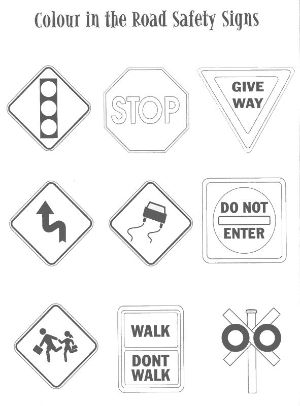 road sign color sheet | Road sign coloring Index of /