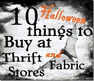 10 Halloween things to buy at thrift & fabric stores: 10 Halloween, Dollar Stores, Halloween Decoration, Halloween Props, Halloween Crafts, Decoration Idea, Thrift Stores, Halloween Things, Fabrics Stores