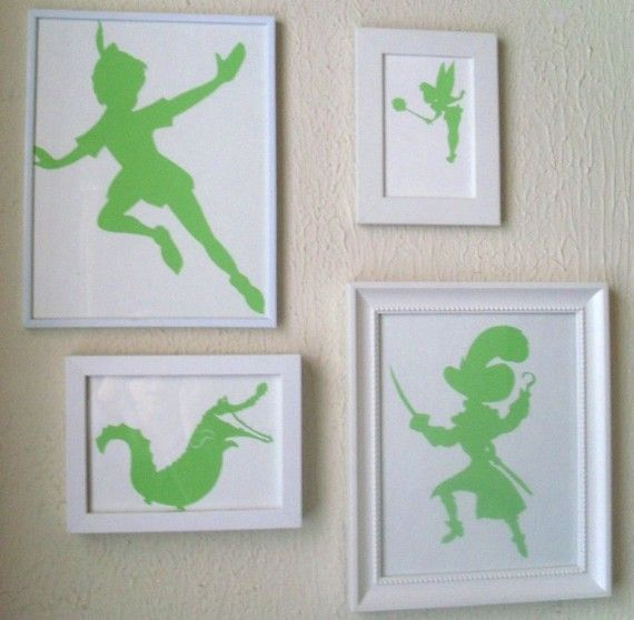Silhouettes - Peter Pan. My poor future child has no choice, they are going to have a peter pan nursery, whether it's a boy or a girl!