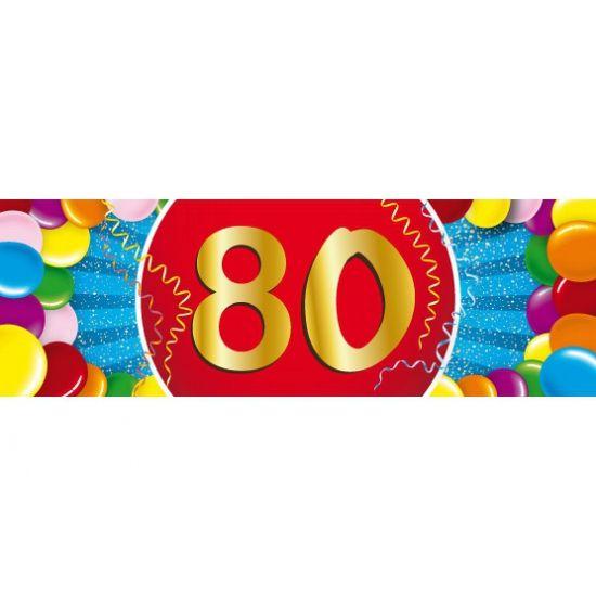 80 jaar sticker voor een 80ste verjaardag. Een vrolijk gekleurde sticker met het cijfer 80. Het formaat van deze sticker is 19,6 x 6,5 cm.