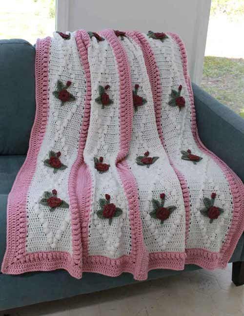 Maggie's Crochet · Vintage Diamond Rose Afghan Crochet Pattern #crochet #afghan #pattern #rose #diamond #easy