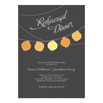 Whimsical wedding rehearsal dinner invitation features a night sky with vibrant hanging paper lanterns. Charcoal black background with light gray, citrus yellow, and orange colors. #wedding #rehearsal #dinner #script #paper #lantern #lanterns #outdoor #casual #outdoors #outside #party #sky #night #evening #simple #contemporary #modern