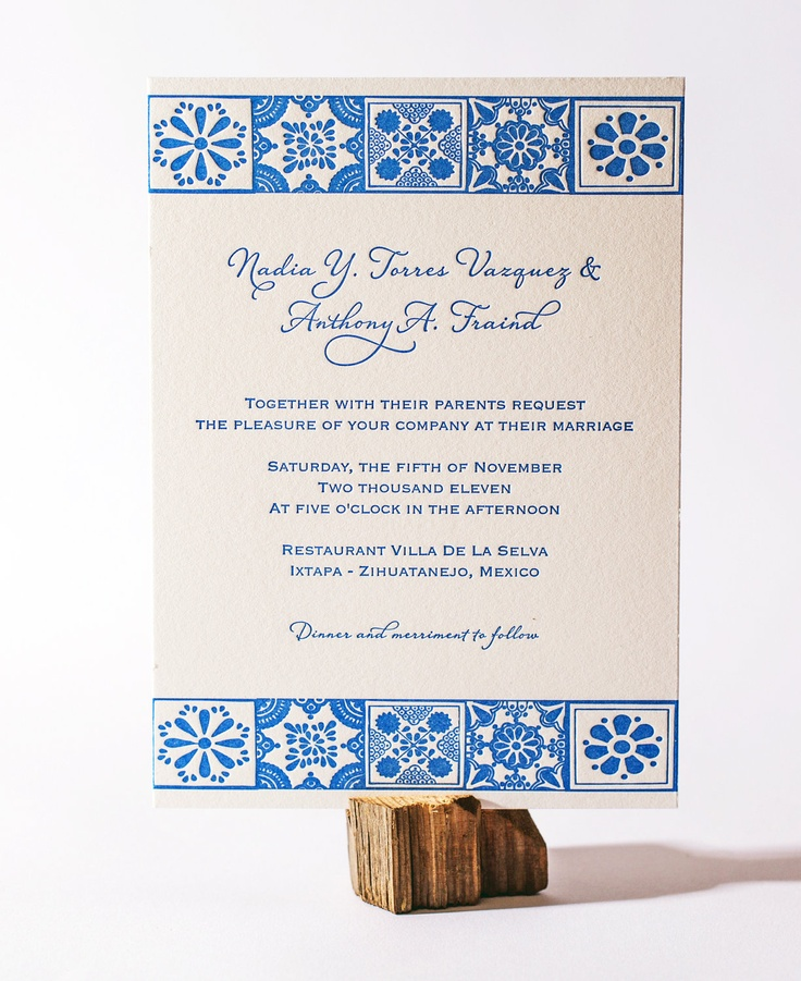 Custom Letterpress Wedding Invitations - Mexican Talavera. $7.00, via Etsy.