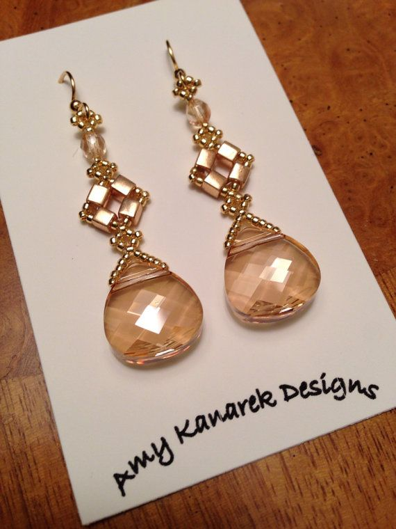 Gold Swarovski beaded crystal earrings beadwoven crystal earrings crystal beaded…