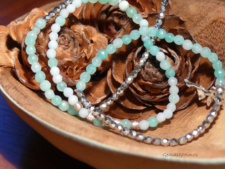 Amazonita y cristal checo #jewelry #handmade #gemstones #joyeria #hechoamano #artesania #piedras
