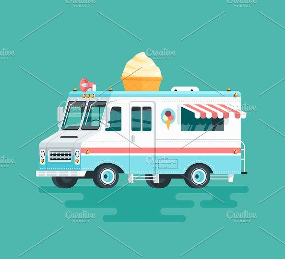 Cartoon Food Truck Ice Cream With Images Food Truck Ice
