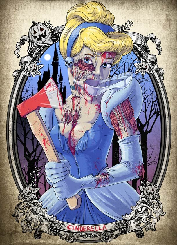 illustrations of Witit Karpkraikaew aka Clocktowerman, including three superb Zombies Disney Princesses: Ariel the Little Mermaid, Cinderella and Snow White… A series of acid and colorful illustrations, energetic and trashy! I love it!