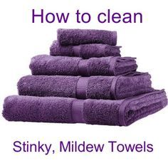 Wash towels in Hot water and one cup of vinegar, then run a second time with 1/2 cup of baking soda. Do not add detergent. Leaves towels fresh and fluffy. Can also be used for bathing suits.