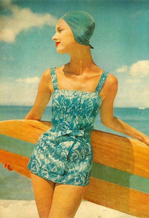 50s: Vintage Swimsuits, Head Of Garlic, 1950S, Retro Surfing, Swimwear Fashion, Bath Suits, Vintage Beaches, Surfers Girls, Beaches Fashion