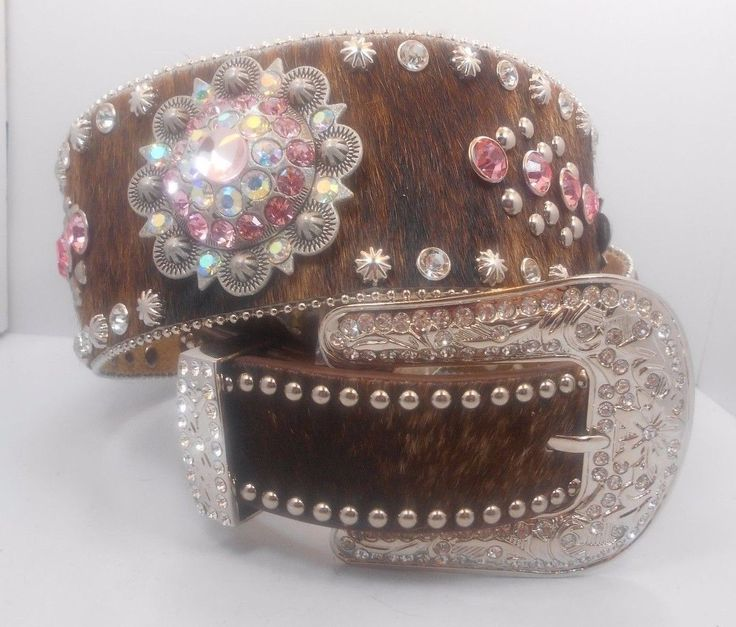 "73.26$  Buy now - http://vivob.justgood.pw/vig/item.php?t=72x0b63773 - Womans Western Bling Belt 2 5/8"" Wide Brown Hair on Hide Pink New Size M-L 73.26$"