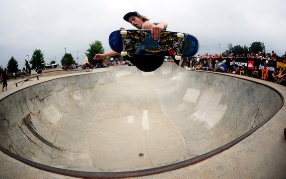 Riley Hawk, son of Tony Hawk, flies during the Birdhouse World Tour in Athens, GA