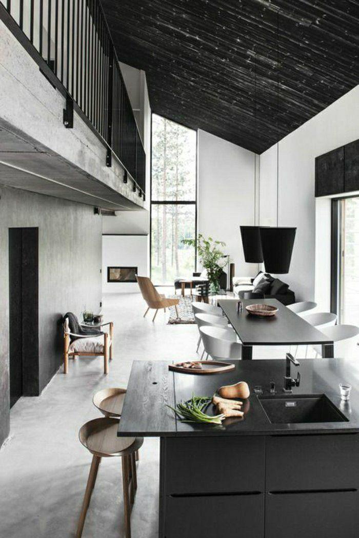 déco gris moderne, salle de séjour de couleur gris, plafond sous pente gris, salon mansardé, ateliers et lofts