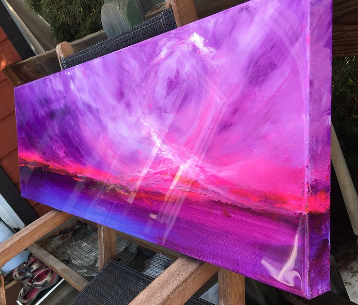 A personal favorite from my Etsy shop https://www.etsy.com/ca/listing/587004636/purple-pink-epoxy-resin-painting-sunset