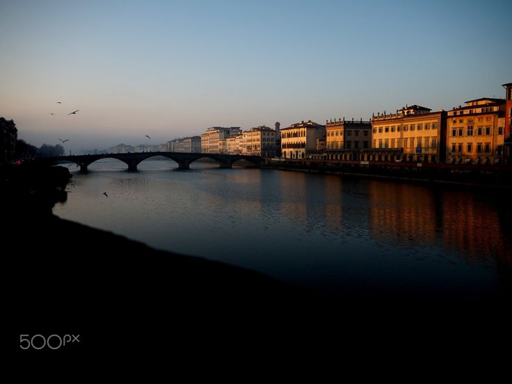 florence arno - Florentine sunset over the Arno River, autumn