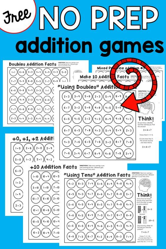 Fun! No prep addition games for kindergarten, first grade and second grade!